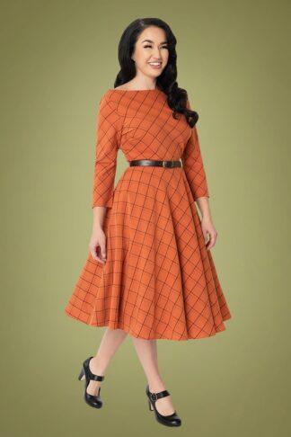 50er Devon Plaid Swing Kleid in Orange und Braun
