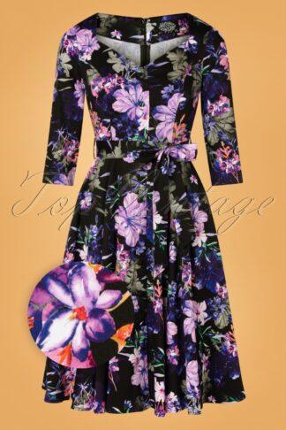50er Faye Floral Swing Kleid in Schwarz und Violett