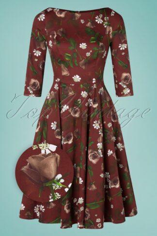 50er Francis Floral Swing Kleid in Weinrot