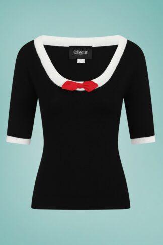 50er Freya Knitted Top in Schwarz und Rot