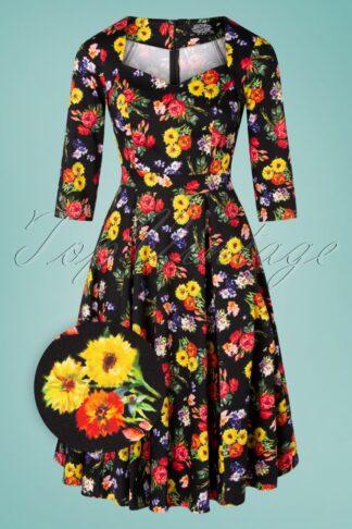 50er Gwenly Bouquet Swing Kleid in Schwarz