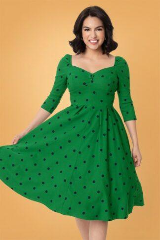 50er Lamar Swing Kleid in Grün und Marineblau