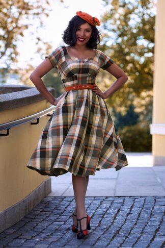 50er Phoebe Amber Tartan Swing Kleid in Schwarz und Steinrot