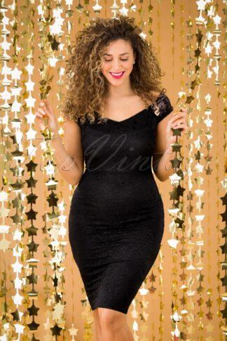 50s Alma Lace Pencil Dress in Black