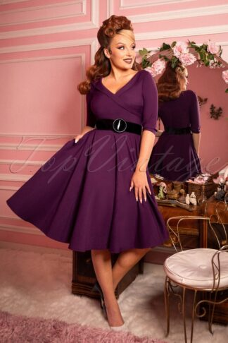 50s Aviva Swing Dress in Royal Purple