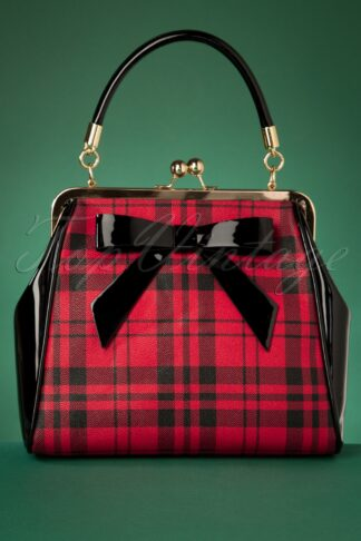 50s Caraboo Tartan Bag in Black and Red