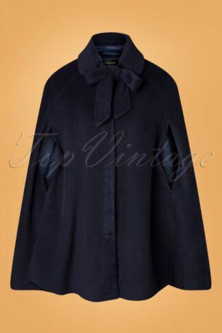 50s Caroline Cape Coat in Blue