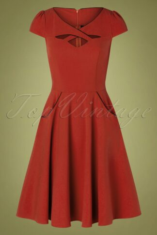50s Connie Swing Dress in Rust Red