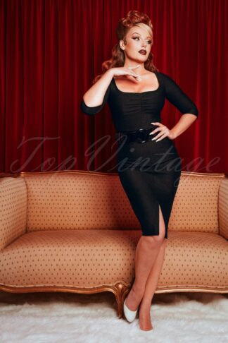 50s Darlene Pencil Dress in Black