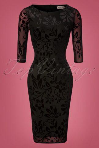 50s Deanna Floral Pencil Dress in Black