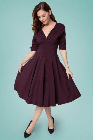 50s Delores Swing Dress in Eggplant