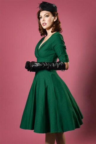 50s Delores Swing Dress in Emerald Green