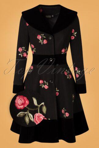 50s Flo Floral Coat in Black