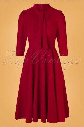50s Florence Velvet Swing Dress in Red