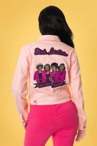 50s Grease Pink Ladies Denim Jacket in Pink