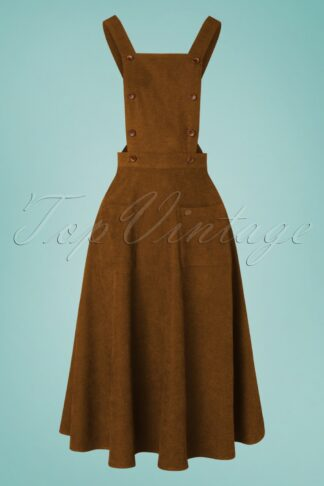 50s Lifes A Peach Pinafore Swing Dress in Camel