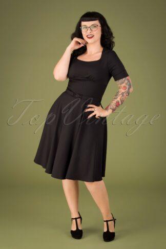 50s Lucia Olive Swing Dress in Black