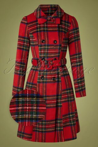 50s Margaret Bow Coat in Red Plaid