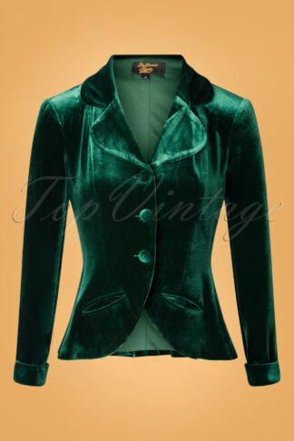 50s Victory Velvet Blazer in Dark Green