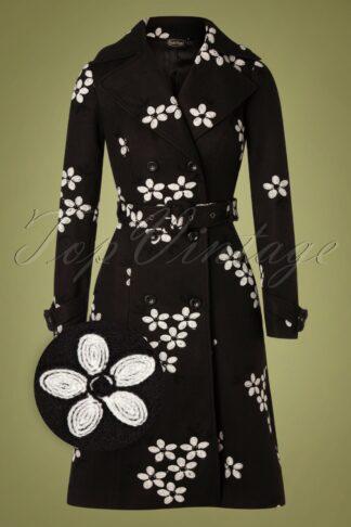 60s Marjorie Floral Coat in Black