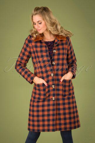 60s Nathalie Woodland Check Coat in Caramel