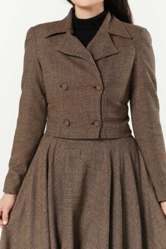 Timeless London Sophie Cropped Jacke, brown check von Rockabilly Rules