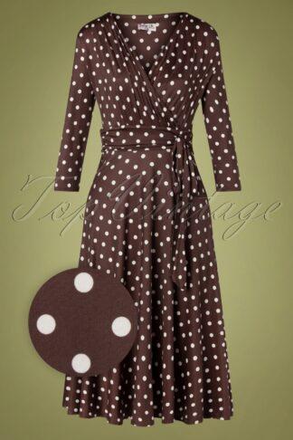 50er Caryl Polkadot Swing Kleid in Schokolade Braun