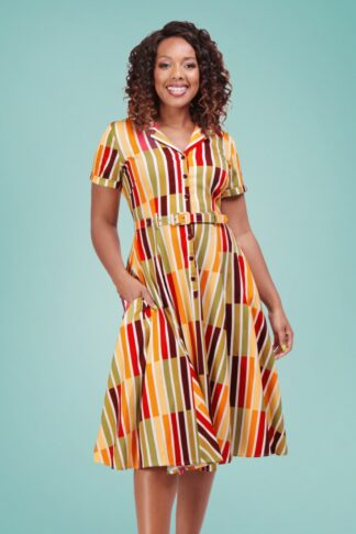 50er Caterina Alternate Stripe Swing Dress in Multi