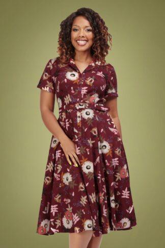 50er Caterina Forest Floor Swing Kleid in Wein Rot