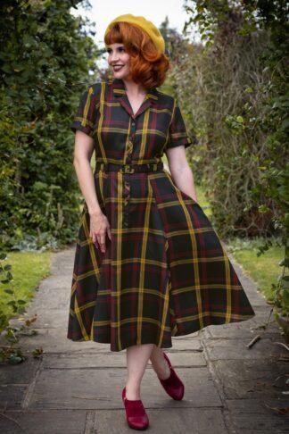 50er Caterina Giles Kariertes Swing Kleid in Multi