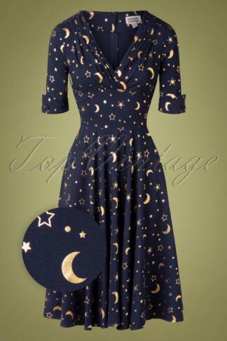 50er Delores Moon Swing Kleid in Marine Blau