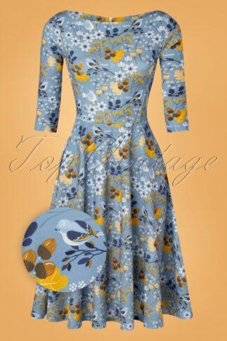 50er Izabella Floral Swing Kleid Dress in Himmelsblau