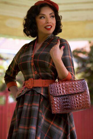 50er Manuella Amber Swing Kleid Dress in Ziegel